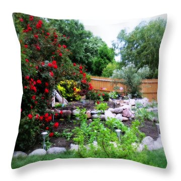 The Roses Are Blooming Throw Pillow by Kay Novy