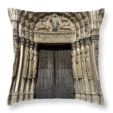 The Royal Portal At Chartres Throw Pillow