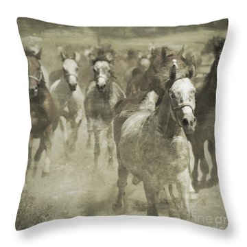The Run For Freedom Throw Pillow by Angel  Tarantella