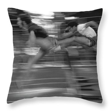 The Runners Throw Pillow by J L Woody Wooden