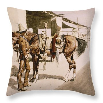 The Rural Guard Mexico Throw Pillow by Frederic Remington