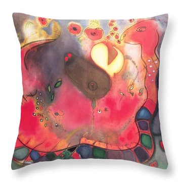 The Sacred Snake Throw Pillow by Jane Deakin
