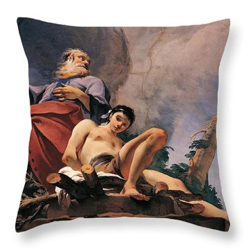 The Sacrifice Of Isaac Throw Pillow by Giovanni Battista Tiepolo