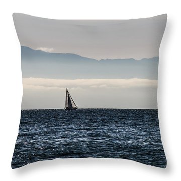 The Sail Boat Horizon Throw Pillow by Arlene Sundby