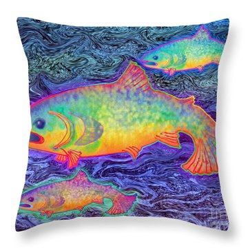 Throw Pillow featuring the mixed media The Salmon King by Teresa Ascone