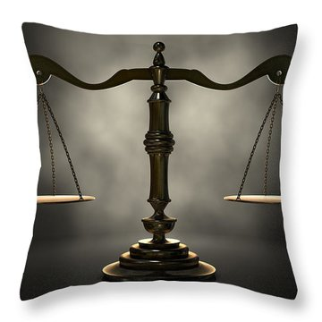 The Scales Of Justice Throw Pillow