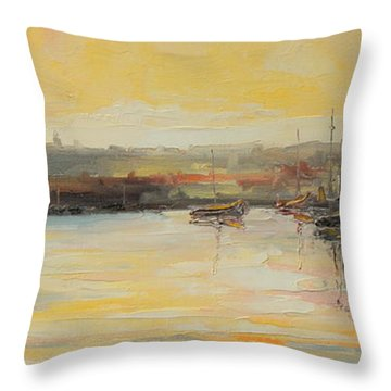 The Scarborough Harbour Throw Pillow