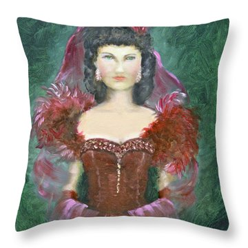 The Scarlet Dress Throw Pillow