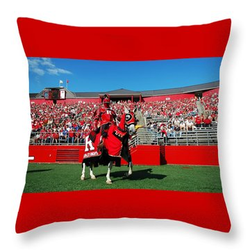 The Scarlet Knight And His Noble Steed Throw Pillow