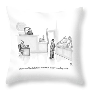 The Scene Is A Courtroom. A Lawyer Is Looking Throw Pillow