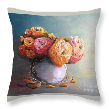 Throw Pillow featuring the painting The Scent Of Flowers by Vesna Martinjak