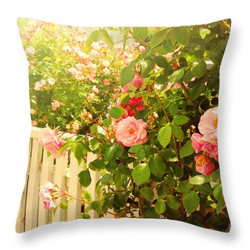The Scent Of Roses And A White Fence Throw Pillow by Sabine Jacobs