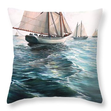 The Schooners Throw Pillow by Eileen Patten Oliver