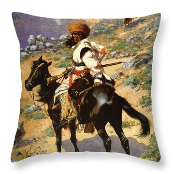 The Scout Friends Or Enemies Throw Pillow by Frederic Remington