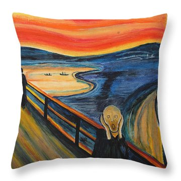 The Scream Throw Pillow by Nirdesha Munasinghe