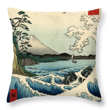 The Sea At Satta In Suruga Province Throw Pillow by Georgia Fowler