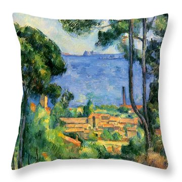 The Sea At The Estaque Throw Pillow by Paul Cezanne
