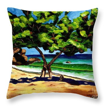 Throw Pillow featuring the painting The Sea-grape Tree by Laura Forde