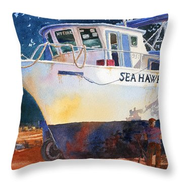 Throw Pillow featuring the painting The Sea Hawk In Drydock by Roger Rockefeller