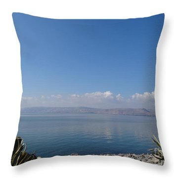 The Sea Of Galilee At Capernaum Throw Pillow