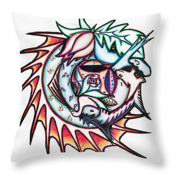 The Seahorse Mosaic Throw Pillow