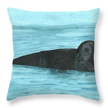 Throw Pillow featuring the painting The Seal by Tracey Williams