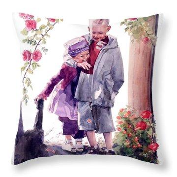 Watercolor Of A Boy And Girl In Their Secret Garden Throw Pillow