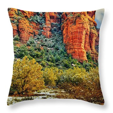 Throw Pillow featuring the photograph The Secret Mountain Wilderness In Sedona Back Country by Bob and Nadine Johnston