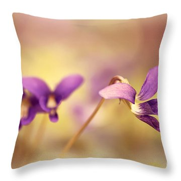 The Secret World Of Wild Violets Throw Pillow by Lois Bryan