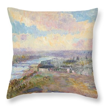 The Seine At Rouen Throw Pillow by Albert Charles Lebourg