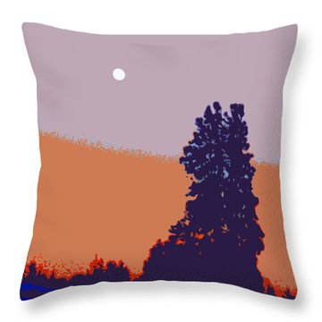 The Sentinal In Orange And Blue					 Throw Pillow
