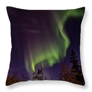 The September Aurora Fairbanks Alaska Throw Pillow