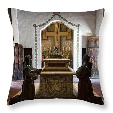 The Serra Cenotaph In Carmel Mission Throw Pillow by RicardMN Photography
