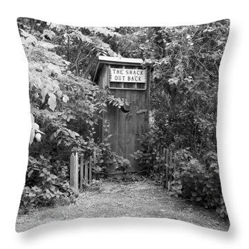 The Shack Out Back In Black And White Throw Pillow