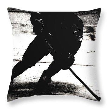 The Shadows Of Hockey Throw Pillow by Karol Livote