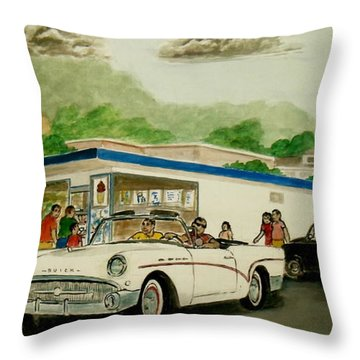 The Shake Shoppe Portsmouth Ohio 1960 Throw Pillow