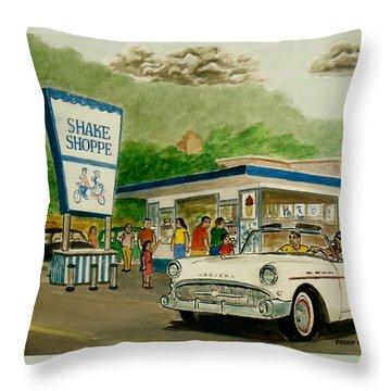The Shake Shoppe Portsmouth Ohio 1960 Throw Pillow