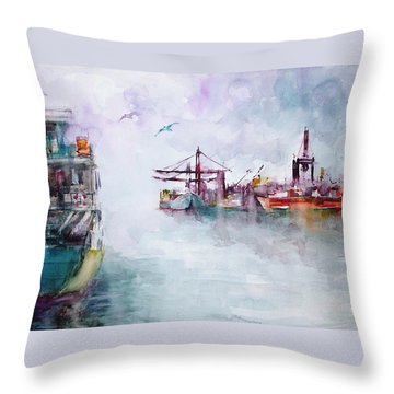 Throw Pillow featuring the painting The Ship At Harbor Entrance by Faruk Koksal
