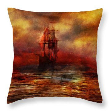 The Ship With Scarlet Sails Throw Pillow