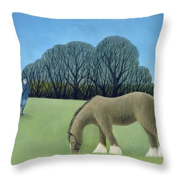 The Shire Horse, 2006 Oil On Canvas Throw Pillow