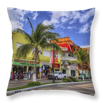 The Shops Of Cozumel Throw Pillow