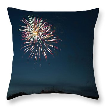 West Virginia Day Fireworks Show Begins Throw Pillow by Howard Tenke
