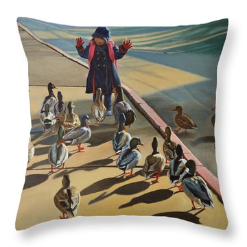 Throw Pillow featuring the painting The Sidewalk Religion by Thu Nguyen
