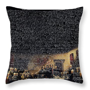The Signing Of The United States Declaration Of Independence V2 Throw Pillow