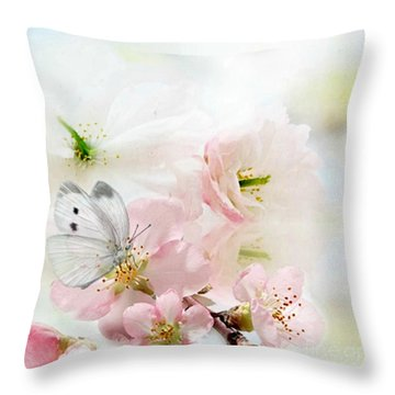 The Silent World Of A Butterfly Throw Pillow by Morag Bates