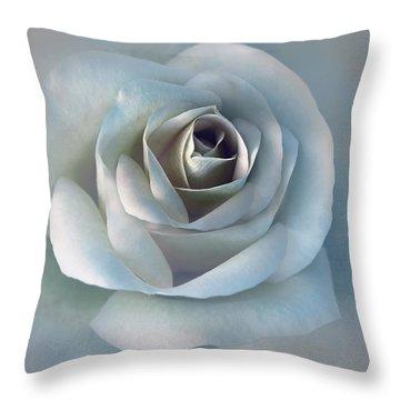 The Silver Luminous Rose Flower Throw Pillow by Jennie Marie Schell