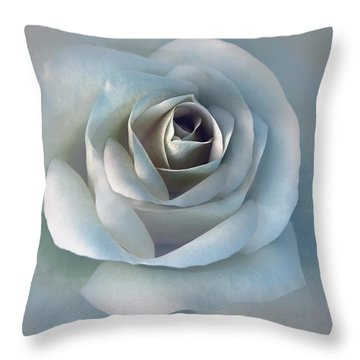 The Silver Luminous Rose Flower Throw Pillow