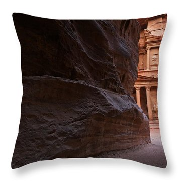 The Siq And Treasury At Petra Throw Pillow by Robert Preston