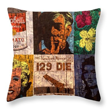 The Six Warhol's Throw Pillow