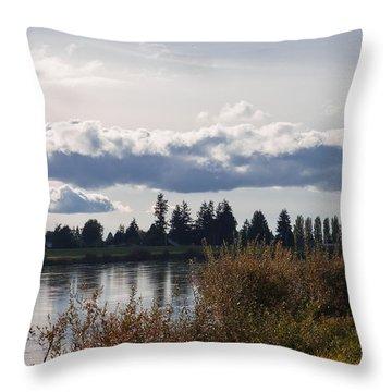 The Skagit River In Mount Vernon Washington Throw Pillow